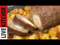 Ρολό με κιμά : Η καλύτερη συνταγή από το Live Kitchen! Αυτό το ρολό κιμά που όλοι αγαπούσαμε να το τρώμε από την μαμά και την γιαγιά μας επέστρεψε από το Live Greek Dishes, Greek Recipes, Us Foods, Kitchen Living, Meatloaf, Baked Potato, Stuffed Mushrooms, Cheese, Ethnic Recipes