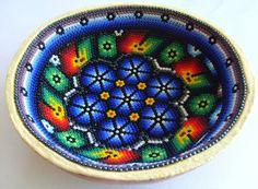 Mexican Huichol Beaded Sacred Gourd Bowl by Aramara on Etsy, $20.00