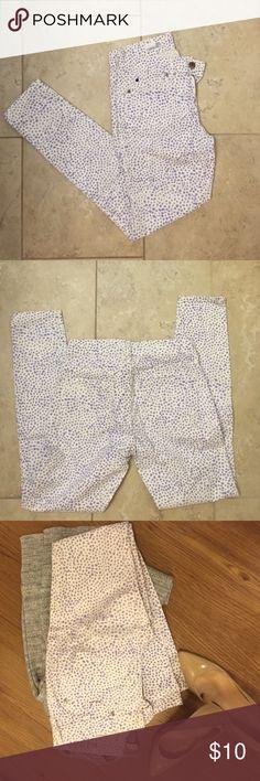 GAP Legging Jean White With Purple Polka Dots Gap Legging Jean White With Purple Polka Dot Print, 27-1/2 inches long GAP Pants