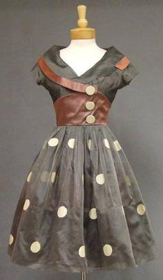 vintage polka dot cocktail dress?  love. 1950s-ish