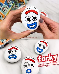 Looking for some simple and easy painted rock ideas for kids Children will love making these Forky painted rocks from Disney s Toy Story 4 simpleeverydaymom paintedrocks kidsactivities # Rock Painting Patterns, Rock Painting Ideas Easy, Rock Painting Designs, Easy Paint Designs, Rock Painting Ideas For Kids, Painting Tutorials, Pebble Painting, Pebble Art, Stone Painting