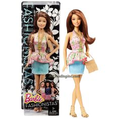 """Barbie Fashionistas 12"""" Doll - TERESA (CFG14) in Floral Pattern Neck Strap Top & Light Blue Denim Skirt Plus Purse and Necklace"""
