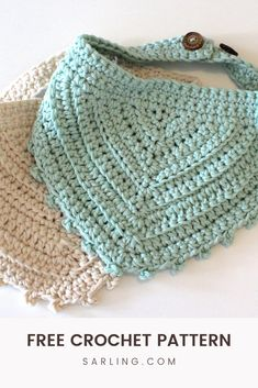 Crochet Dog Clothes, Crochet Baby Bibs, Crochet Baby Dress Pattern, Baby Knitting, Crochet Triangle, Crochet Motif, Free Crochet, Knit Crochet, Crochet Patterns