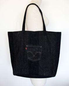 Big Denim Bag #3 - Nudakillers - Torby na ramię, #woman, #bag, #tote, #shopper, #denim, #handmade, #recycling, #nudakillers, #denimlove, #summerbags, #denimbags