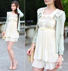 Awwdore Cream Lace Chiffon Dress, Romwe Mint Cardigan With Lace Collar, Romwe Beige Quilted Bag With Gold Chain, Asos Leather Nude Heels