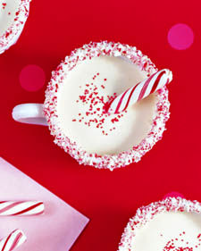 Serve kids eggnog, jazzed up with peppermint extract, in candy-rimmed mugs.