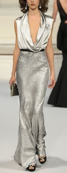 Love the silver but also would like it in black... Oscar de la Renta Fall 2010 RTW