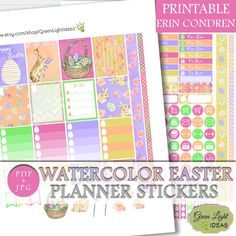 Watercolor Easter Printable Stickers, Easter Erin Condren Stickers, Digital Easter Planner Sticker, Vertical Planner April Weeky Sticker Kit by GreenLightIdeas on Etsy