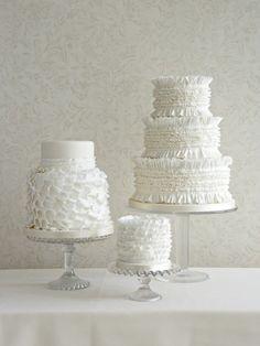 Trio of Ruffle Wedding Cakes, Zoe Clark Cakes