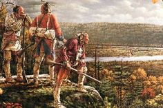 Painting by Pennsylvania artist Robert Griffing of three Mingo Indians looking down on Fort Pitt in Native American Paintings, Native American Pictures, Indian Paintings, Native American Warrior, Native American Art, American History, American Indians, Early American, Native Indian