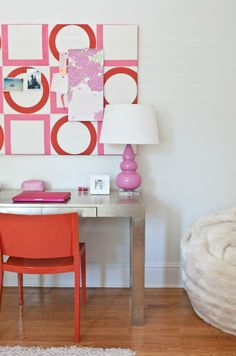 pink and orange girls bedroom
