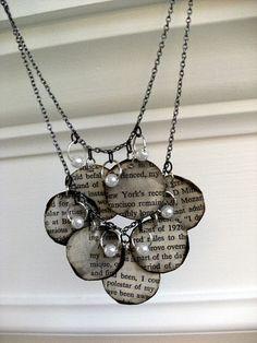 Book page necklace! So cute. devimcdonald