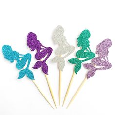 Glitter Mermaid Cupcake Toppers - Under the Sea Cupcake Toppers - Set of 12 - Mermaid Party Decoration // Mermaid Birthday Party Supplies by CloverandBloomCo on Etsy https://www.etsy.com/listing/221779477/glitter-mermaid-cupcake-toppers-under