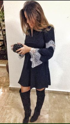 Vestido Renda Manga - Preto