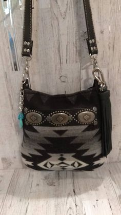 Native American Style Wool and Bison Buffalo Leather Purse