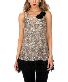 Another great find on #zulily! Beige Lace Ruffle Sleeveless Tunic by Lily #zulilyfinds