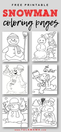 Free Printable Snowman Coloring Pages | Easy to print. Pin it. #christmas #holidays #freeprintables