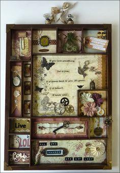 shadowbox, art boxes, collag, printer tray, configur box, decor idea, window boxes, mixed media shadow boxes