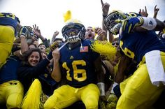University of Michigan celebrating after their win over Ohio State 11/26/11! GO BLUE!!