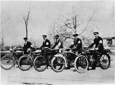 AAA's First Roadside Rescue Crew. AAA began providing emergency roadside assistance in 1915, using a fleet of motorcycles to aid stranded motorists. #travel #vintage