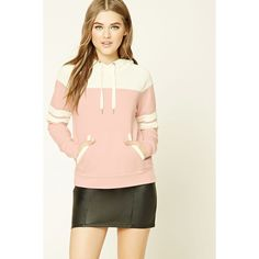 Forever21 Colorblock Hoodie ($20) ❤ liked on Polyvore featuring tops, hoodies, color block hoodie, white hooded sweatshirt, drawstring hoodie, white long sleeve top and white tops