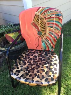 would LOVE this on my rocking chair! - Patio Chair - Ideas of Patio Chair Lawn Furniture, Furniture Projects, Furniture Makeover, Outdoor Furniture, Western Furniture, Family Furniture, Chair Makeover, Funky Furniture, Upcycled Furniture