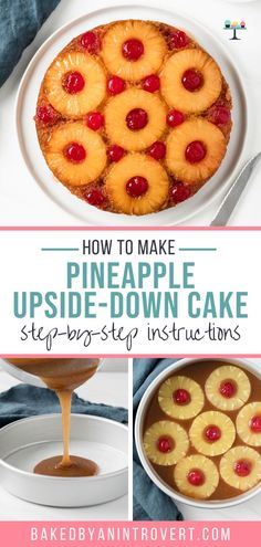 A Pineapple Upside-Down Cake Recipe with deep pineapple flavor. The cake is buttery and tender and the sticky, sweet topping is adorned with pineapple and cherries. This easy, classic cake is always a favorite! Easy Cake Recipes, Best Dessert Recipes, Easy Desserts, Sweet Recipes, Delicious Desserts, Yummy Food, Boston Cream Poke Cake, Classic Cake, Homemade Cakes
