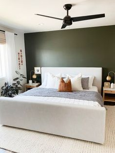 Cozy bedroom inspiration with a king size bed, olive green wall and the softest rug underfoot. Olive Green Bedrooms, Olive Bedroom, Green Bedroom Walls, Green Master Bedroom, Green Accent Walls, Bedroom Wall Colors, Accent Wall Bedroom, Home Bedroom, Bedroom Decor
