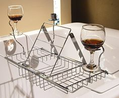 """Specifications: Color: Chrome ; Material: Chrome Size: #expandable from 25"""" to 34"""" ; Weight: 2 lb/900g Features: The grips, reading rack, wine glass #holders and..."""