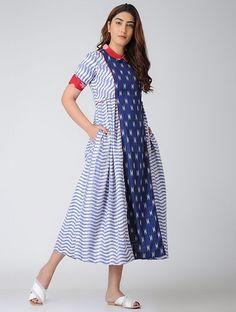 Indigo-Red Gathered Ikat Cotton Dress with Pocket Kids Blouse Designs, Kurti Neck Designs, Dress Neck Designs, Salwar Designs, Casual Frocks, Casual Dresses, Simple Dresses, Casual Wear, Cotton Frocks