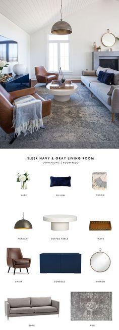 Copy Cat Chic Room Redo | Sleek Navy and Gray Living Room: