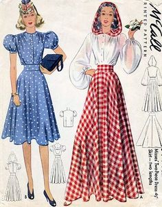 1940s McCall 3771 dress, skirt, hooded blouse! red white gingham blue dot day button front color illustration vintage fashion style