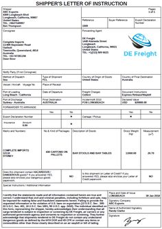 Example Of Shippers Letter Instruction Document Template Used For Freight Forwarders To Arrange The Export