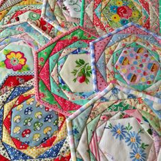 "pretty patchwork potholders on Hen House blog from ""Patchwork Please"" by Ayumi Takahashi."