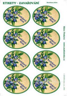 Samolepicí etikety, zavařování, borůvkový džem