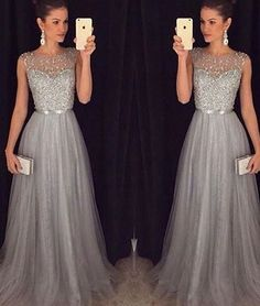 A-line round neck tulle sequin long prom dress for teens, unique evening dress