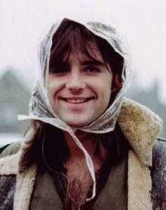 Michael Praed on the set of Robin of Sherwood.