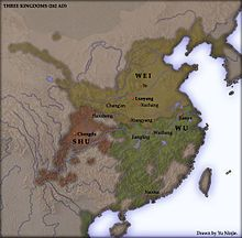 Tres Reinos - A la muerte del Emperador Ling de los Han (Mayo del 189) indujo a la regencia del General He Jin ,que fue asesinado en una revuelta,  el General fronterizo Dong Zhuo entró desde Lin Yang y tomó control, seguido por una guerra civil, esta inestabilidad terminaron con Cao Pei, quien  fundó el Reino de WEI en las provincias del Norte (220): Al mismo tiempo fueron fundadas el Reino de SHU HAN (221) (Sudeste) pretendía restaurar la Dinastía Han. y el Reino de WU (222) en el Sudeste.