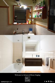 Great bathroom transformation by Markham Stagers, in Barcelona. Before and After. Check out more images here www.markhamstagers.com Home Staging, Barcelona, Kitchens, Kitchen Cabinets, Bathroom, Home Decor, Flats, Washroom, Decoration Home