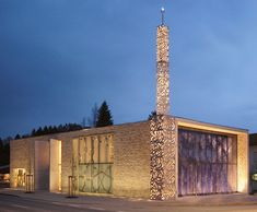 Exterior night-time view of the Islamic Forum of Penzberg, Germany. Built in 2005 and designed by Alen Jasarevic. Mosque Architecture, Sacred Architecture, Religious Architecture, Classical Architecture, Architecture Design, Islamic World, Islamic Art, Architecture Religieuse, Beautiful Mosques