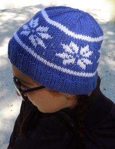 Hand Knit Blue and White Sparkle Snowflake by OopsIKnittedAgain