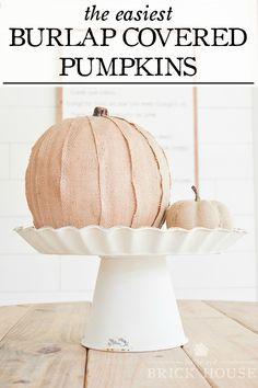 Cute and Easy Burlap Covered Pumpkin Craft | LITTLEREDBRICKHOUSE.COM