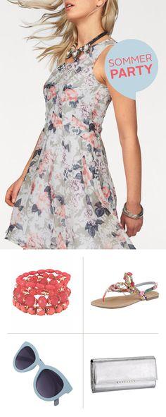 Das leichte Melrose Chiffonkleid mit romantischem Blumen-Print ist die perfekte Wahl für sommerliche Abendpartys. Die funkelnden Applikationen der Buffalo Sandale und das J. Jayz Armband setzen strahlende Akzente und unterstreichen den eleganten Blumen-Chic.