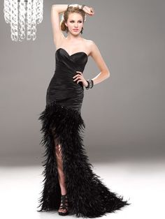 Dress with Black Feathered Skirt