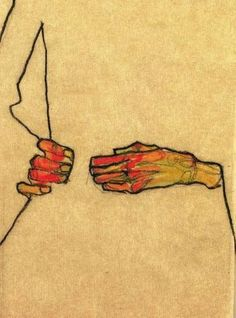 Egon Schiele, self portrait detail 1910