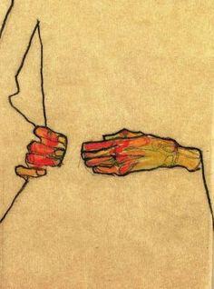 Egon Schiele, self portrait detail 1910