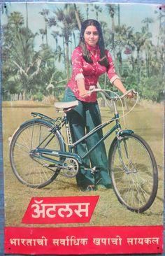 Trasportation Tin Sign Atlas Bicycles Model BOLLYWOOD Hot Actress Neetu Singh