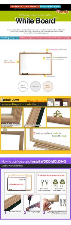 STANDARD : Maple Wooden Whiteboard 700 x 500 Diy Whiteboard, Maple Walnut, Wood Molding, Timber Mouldings