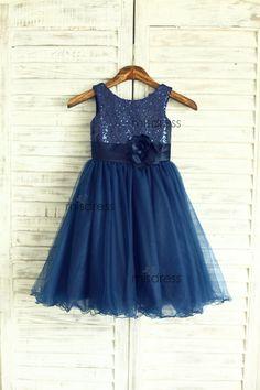 Navy Blue Sequin Tulle Flower Girl Dress Curly Hem Wedding Easter Junior…