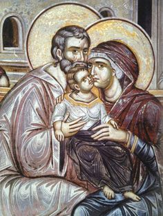 Holy family.  Fresco.